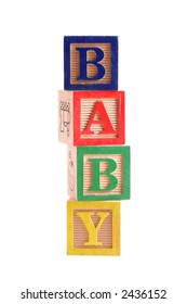 """Multi-colored wooden blocks spelling the word """"Baby"""" stacked vertically.  White background, isolated."""