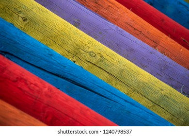 multicolored wooden fences