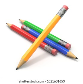Multicolored wooden pencils with four colors - 3D illustration