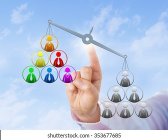 Multicolored work team is being lifted up by a unicolored group of workers. Metaphor for multicultural organization, business case for diversity, ethnic discrimination and racial employment bias.
