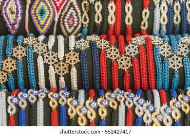 Multicolored woven bracelets, background
