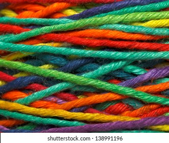 The multicolored yarn used for knitting clothes