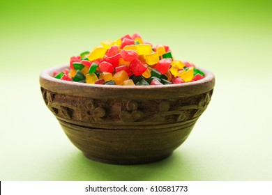 Multicolour Candied Fruits or Tutti-Frutti, served in a bowl, selective focus