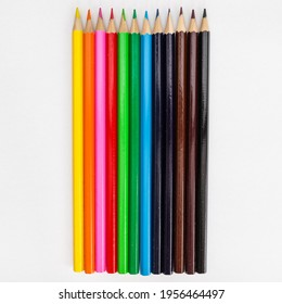 Multicolour pencils with white background