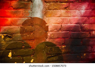 Multicoloured bricks wall with textures unique photo