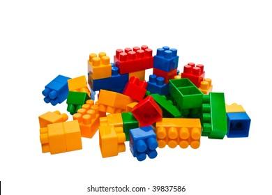 Multi-coloured details of the children's plastic designer