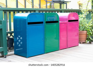 Multicoloured Garbage Trash Bins. Recycling bins at a recycling station Recycling, Garbage, Environment, Recycling Bin, Garbage Bin