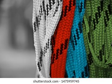 Multicoloured nylon made ribbons isolated unique photo