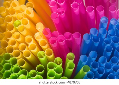 Multi-coloured straws grouped together (viewed from the end - macro).