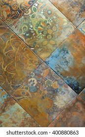 Multicoloured tiles with a pattern , background, texture