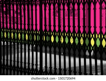 Multicoloured traditional protection grill isolated unique photo