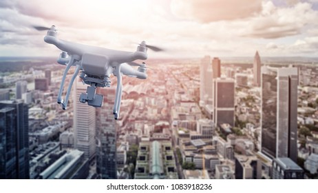 multicopter drone flying over the city of Frankfurt am Main, Germany