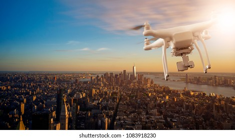 Multicopter Drone flying over the cityscape of lower Manhatten, New Yor City