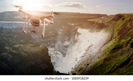 multicopter drone flying over Gulfoss Waterfall, part of the Golden Circle, Iceland