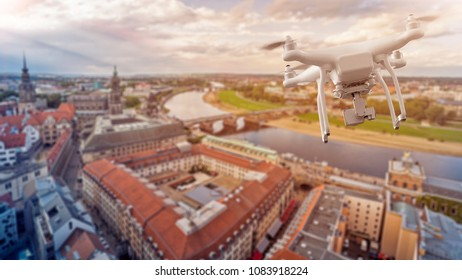 multicopter drone over the old city center of Dresden, Germany