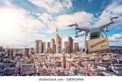 multicopter drone with package flying over the cityscape of Frankfurt am Main, Germany, financial capital of the european union