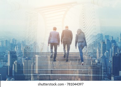Multicultural businessman 20-30 years old walking up the stairs in a rush hour to work and view of city in Bangkok.join the investment In future expansion,Investment and business mergers concepts