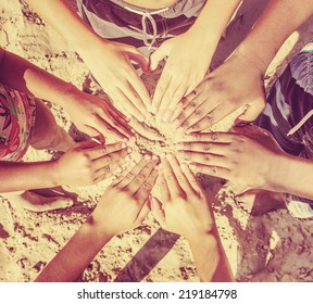 Multicultural children's hands in a circle. Instagram effect
