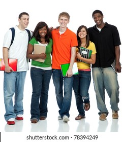 Multicultural College students/friends, male and female waling on a white background