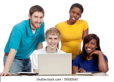 Multicultural College students/friends male and female, gathered around a computer