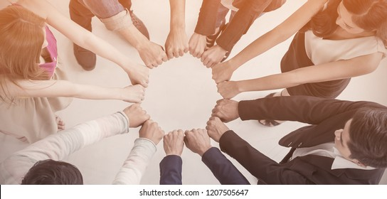 Multicultural hands synergy brainstorm business man woman in circle top view background. Support helping teamwork together international diversity harmony education and people concept panoramic banner