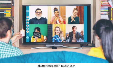 Multicultural people on video call celebrating 2020 Easter holiday from home isolation due to Covid-19 pandemic quarantine – friends having virtual fun on live streaming platform expressing friendship