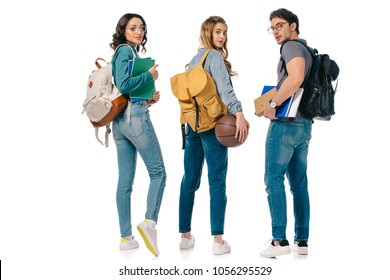 multicultural students with backpacks and basketball ball isolated on white