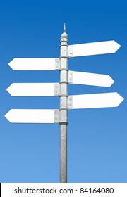 Multi-directional six way signpost with blank spaces for text.