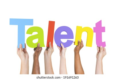Multiethnic Arms Raised Holding Text Talent