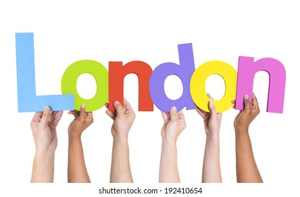 Multiethnic Arms Raised Holding Text London
