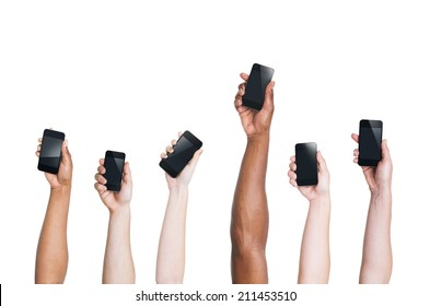 Multi-Ethnic Arms Raising Smartphones and One Standing Out