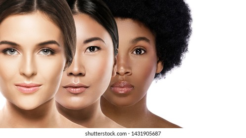 Multi-ethnic beauty. Different ethnicity women - Caucasian, African, Asian.