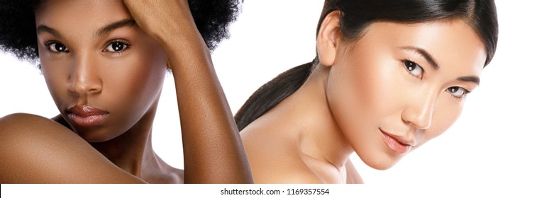 Multi-Ethnic beauty or interracial friendship. African and Asian women on white background