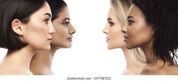 Multi-ethnic beauty and skincare. Group of beautiful women with a different ethnicity.