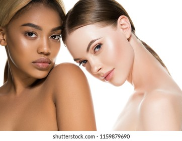 Multi-ethnic beauty two woman with dakr and white skin color female women portrait