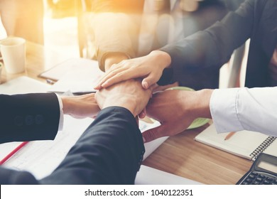 Multiethnic Business people Shakes Hands and fist bump showing Trustworthy team work business etiquette am pleased With mergers and Acquisition .partnership marketing sales team collaborate  concept