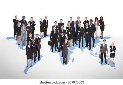 Multiethnic business people standing on world map representing global business.