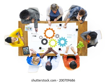 Multi-Ethnic Business People Working in Team