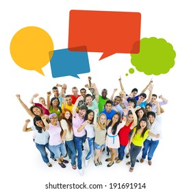 Multiethnic Cheerful People Celebrating with Speech Bubbles