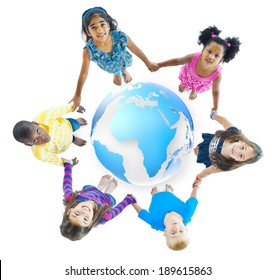 Multi-Ethnic Children Holding Hands Around Globe