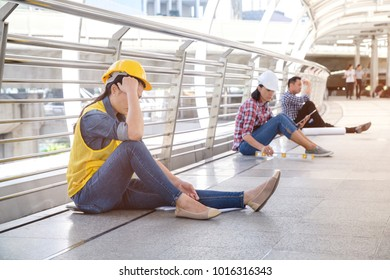 Multiethnic diverse group of middle-aged unhappy businesswoman and man unsuccessful that feeling down or disappointed sitting outside,business people fired from job or unemployed, Unemployment concept