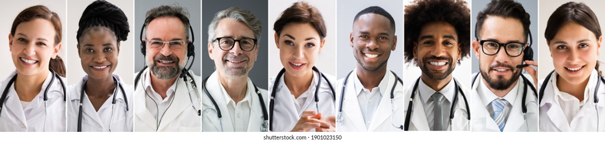Multiethnic Doctor Faces Photo Collage. Different Portraits
