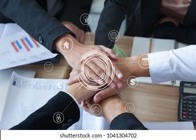 multiethnic ethnic business people volunteer putting hand friendship together,friends with stack of hands showing unity and trust worthy partnership teamwork.team collaborate working with competitors