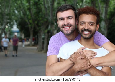 Multiethnic gay couple in the park