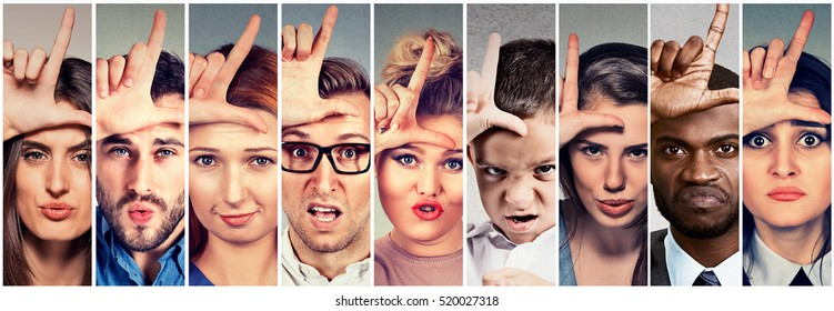Multiethnic group of angry bully people men and women giving loser sign on forehead, looking at you with digest on face. Negative attitude concept