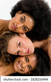 Multi-ethnic group of beautiful women posing in underwear in a beauty studio - Multicultural fashion models showing their beautiful bodies as they are, concepts about beauty, acceptance and diversity