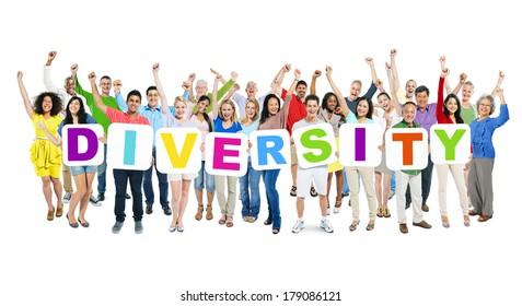 Multi-ethnic Group of Celebrating World People Holding Boards with Diversity