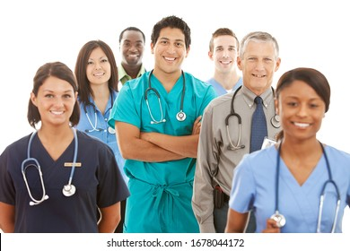 Multi-ethnic group of doctors, physicians, and nurses, both male and female.  Isolated on a white background.