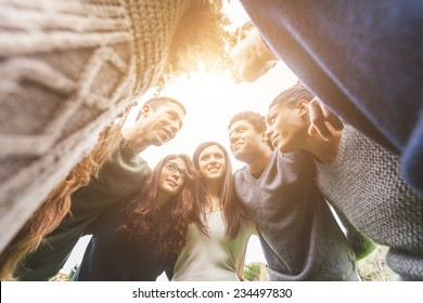 Multiethnic Group of Friends in a Circle