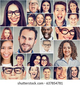 Multiethnic group of happy smiling people men and women